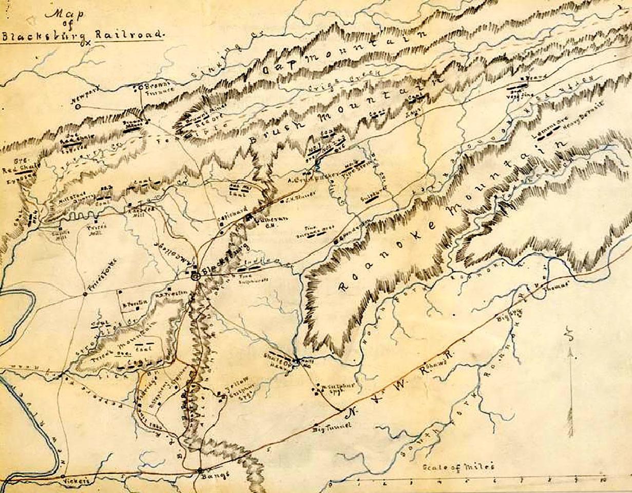 Map of Blacksburg Railroad