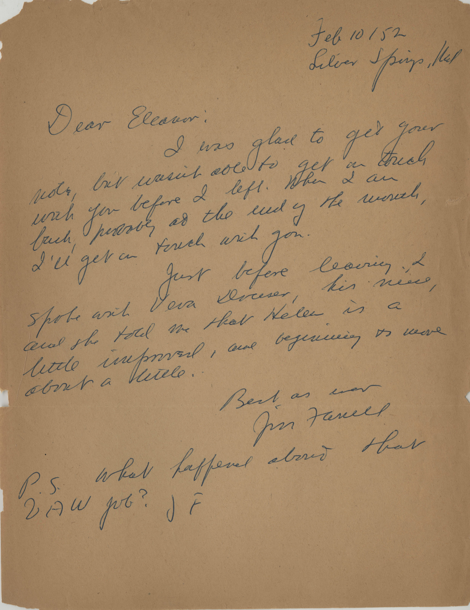 Letter, James T. Farrell to Eleanor Copenhaver Anderson, February 10, 1952