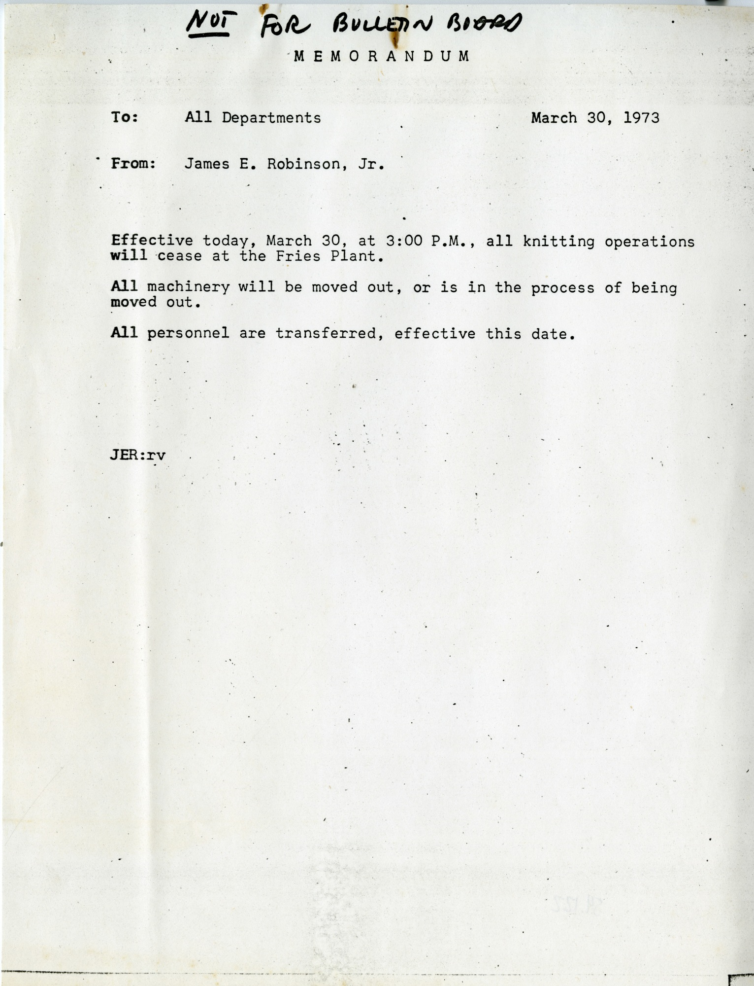 Memo to Cease Knitting Operations at the Mill, 1973 (Ms1989-039)