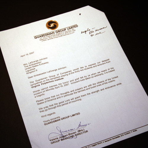 Letter from Guardsman Group Limited
