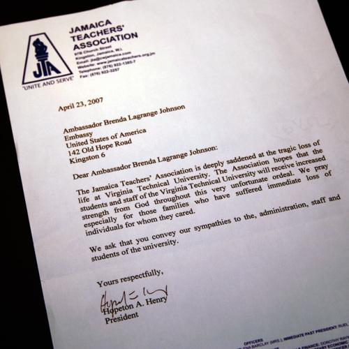 Letter from Jamaica Teachers Association