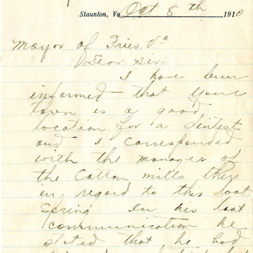 Letter Inquiring About the Need for a Dentist in Fries, Va., 1910 (Ms1989-039)