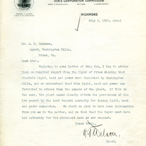 Letter Confirming Mill-Provided Utilities, 1910 (Ms1989-039)