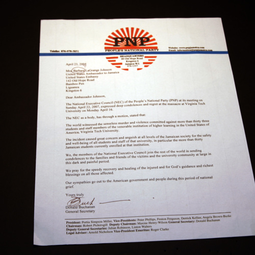 Letter from National Executive Council of the People's National Party of Jamaica