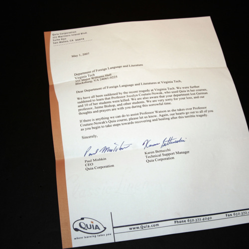 Letter from Quia Corporation