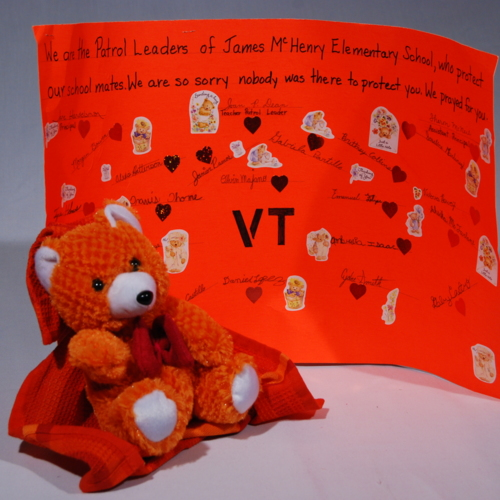 Teddy Bear and Poster from James McHenry Elementary School