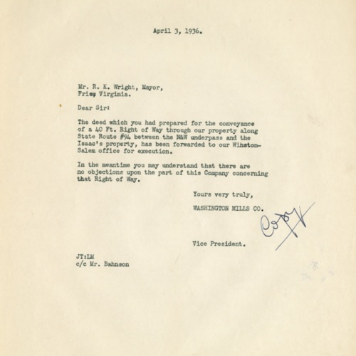 Letter About Land for Road Improvements, 1936 (Ms1989-039)