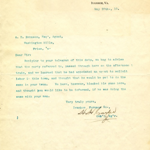 Letter About an Employee Poacher, 1910 (Ms1989-039)