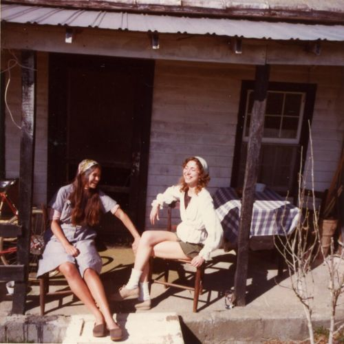 Photograph, Ginger Wagner and [unknown] on the porch of house in New Town