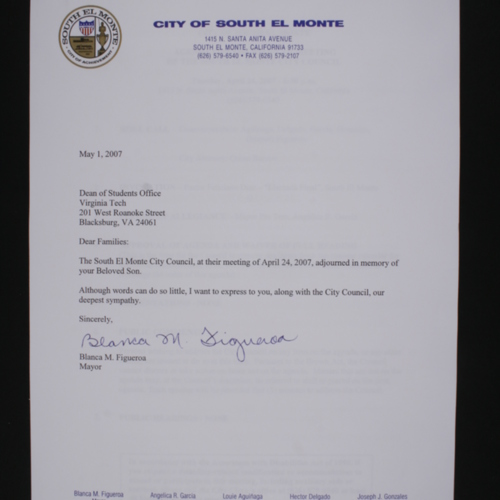 Letter representative of 3 letters received from the City of South El Monte