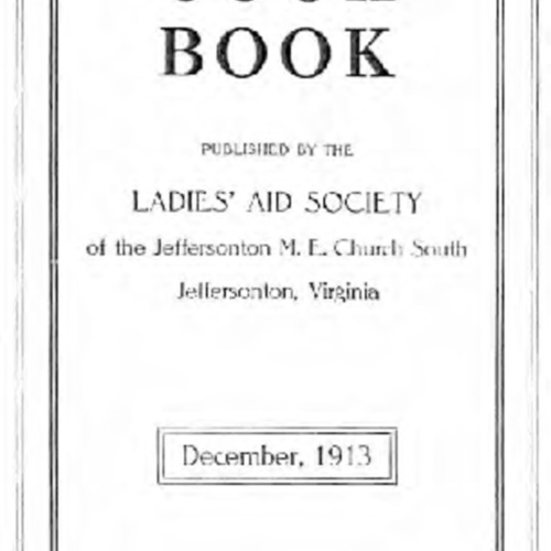 Cook Book published by the Ladies' Aid Society of the Jeffersonton M. E. Church South