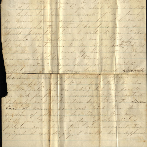 Preston Family Correspondence, 1861, 1872 (Ms2010-070), Letter from Sarah Caperton Preston to Colonel Grabowski
