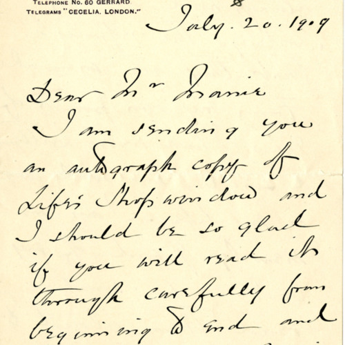Victoria Cross Letter, 1909 (Ms1987-039)<br />