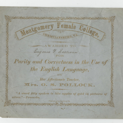 Certificate, Eugenia V. Sullivan, Montgomery Female College, n.d. {Ms2009-013)