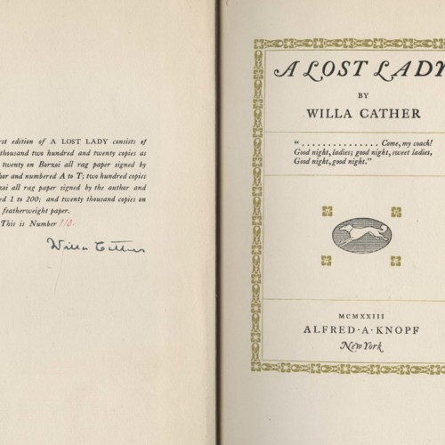 Author's signature, <em>A Lost Lady</em> by Willa Cather (1923). First edition, signed and numbered.