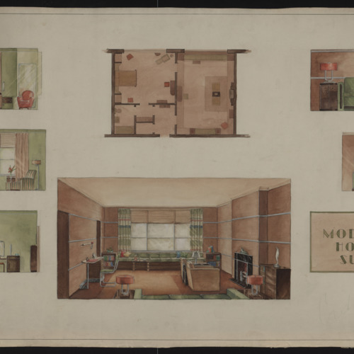 "Watercolor Interior Design, ""A Moderne Hotel Suite"", n.d. (Ms2001-005)"