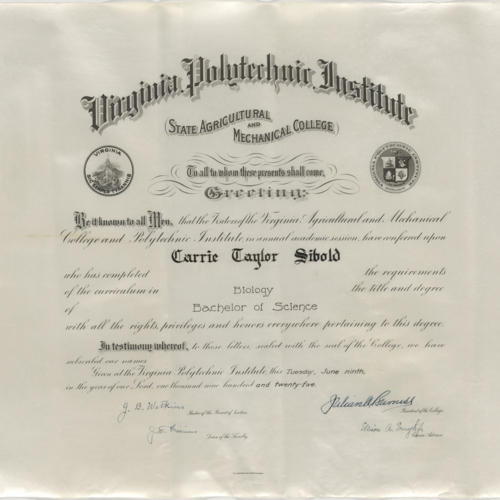 Diploma, Carrie Taylor Sibold, Virginia Polytechnic Institute State Agricultural and Mechanical College, June 9, 1925 (Ms1990-043)