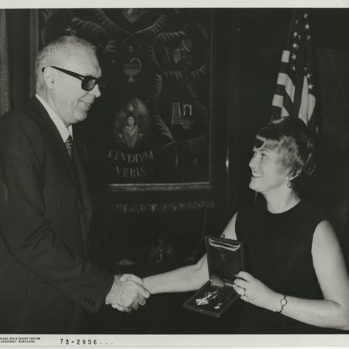 Photograph, Marjorie Townsend receiving Knight of the Italian Republic Order, October 1972 (Ms1986-003)
