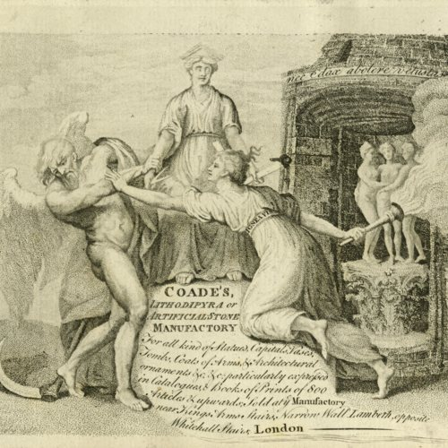 Coade's Lithodipyra or Artificial Manufactory Trade Card, 1784? (Ms2015-045)