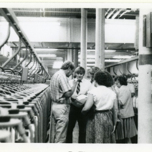 Employees Have a Discussion in the Winding Room (Ms1989-039)