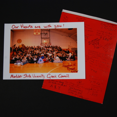 Card with photograph of Greek Council from Montclair State University