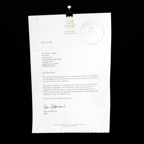Letter from mayor of Leval, Quebec