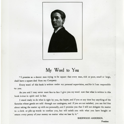 Photograph of part of an advertisement from The United Factories Company created during Anderson's tenure as company president, c.1906  (Ms1973-002)
