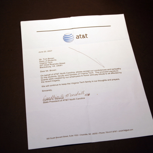 Letter from AT and T