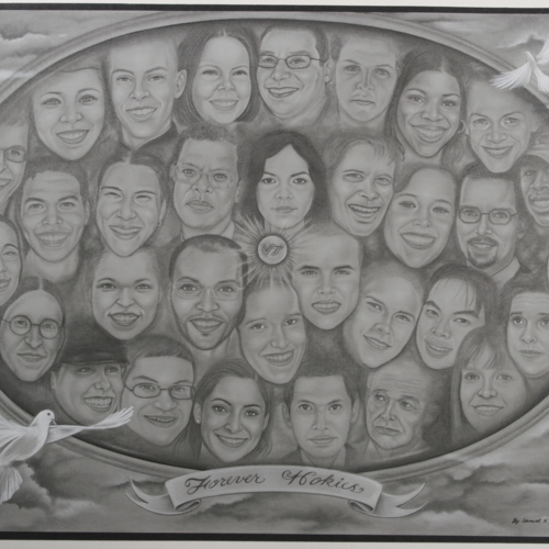 Large drawing of the victims faces from Samuel X Holloway