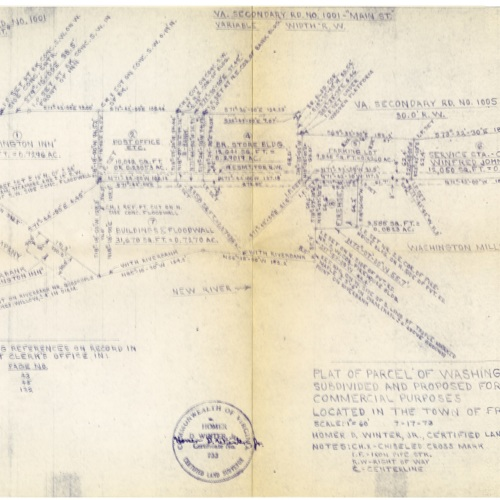 Plat of Parcel of Washington Mills Company Property, 1973 (Ms1989-039)