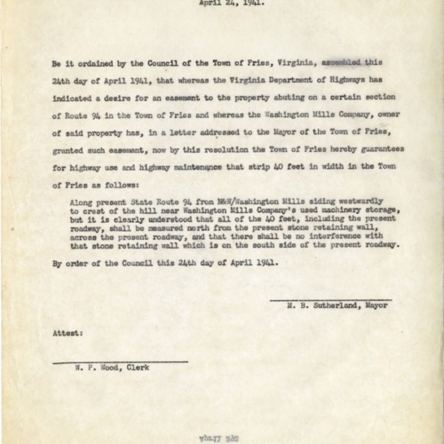 Letter Granting an Easment for the Department of Highways, 1941 (Ms1989-039)