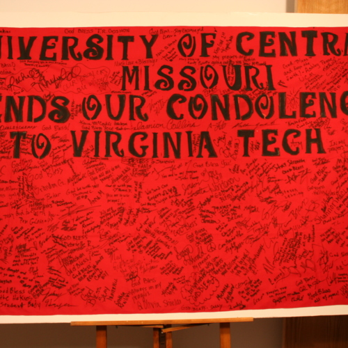Cloth banner from University of Central Missouri
