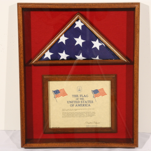 Framed certificate and flag from United States Senate