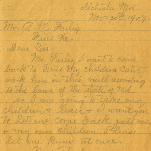 A Letter to Mr. A.M. Farley Requesting a Job at the Fries Textile Mill, 1907 (Ms1939-039)