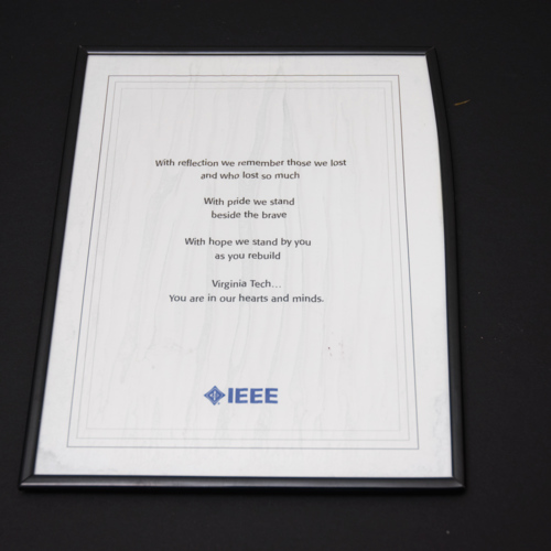 Letter from Institute of Electrical and Electronics Engineers sent on first anniversary