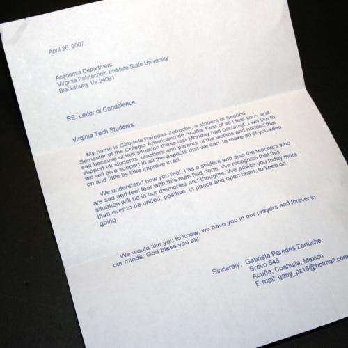 Letter from Colegio Americano De Acuna