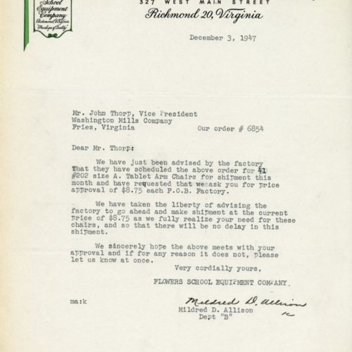 Letter about an order for school supplies, 1947 (Ms1989-039)