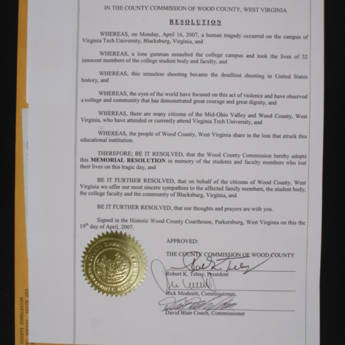 Resolution from County Commission of Wood County, West Virginia