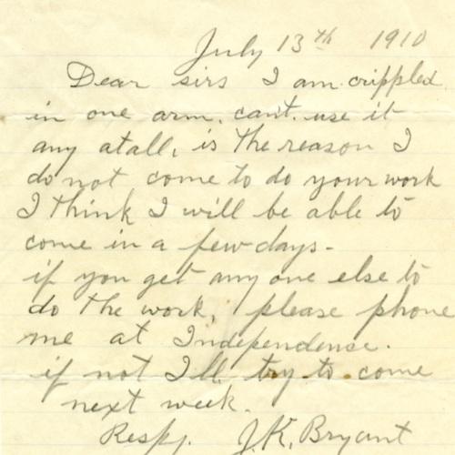 Employee Sick Note, 1910 (Ms1989-039)