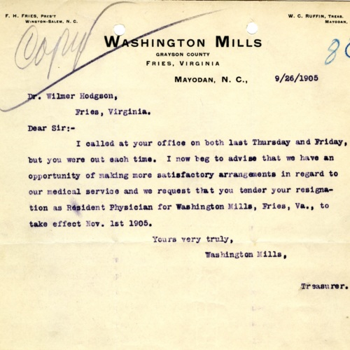 A Letter Firing a Doctor (Ms1989-039)