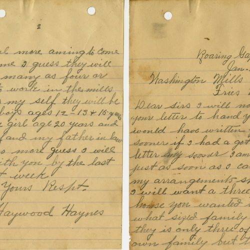 A Letter to Washington Mills About Coming to Fries, 1908 (Ms1989-039)