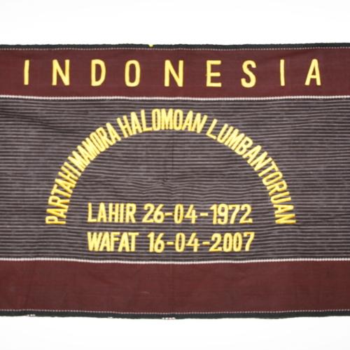 Prayer shawl brought to Newman Library by Partahi Mamora Halomoan Lumbantoruan's parents