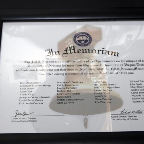 In Memorium certificate from University of Arizona