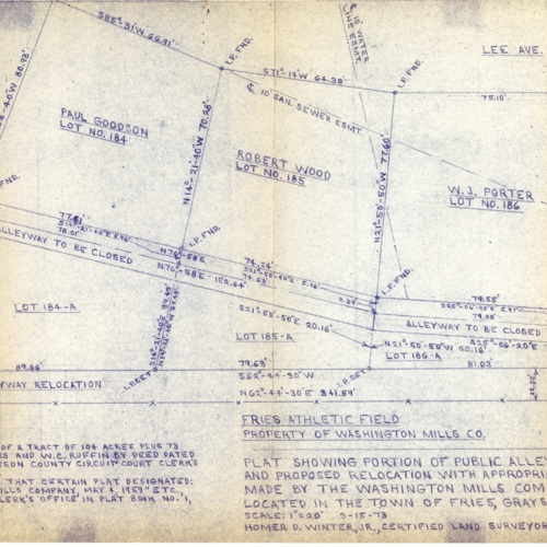 Plat Showing Portion of Public Alleyway to be Legally Closed and Proposed Relocation with Appropriate Lot Conveyances to be Made by the Washington Mills Company, 1973 (Ms1989-039)