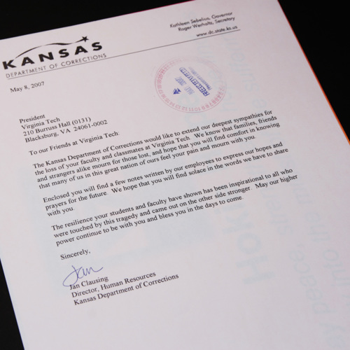 Letter from Kansas Department of Corrections