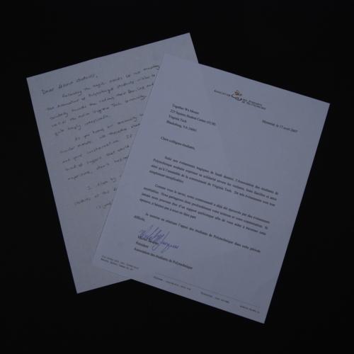 Letter from Association des Etudiants de Polytechnique