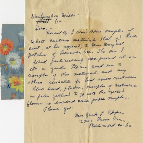 A Letter to Washington Mills about Fabric Samples (Ms1989-039)