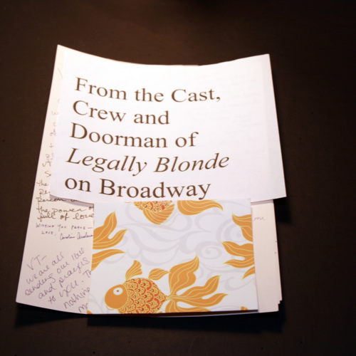 Card from Cast and Crew of Legally Blonde on Broadway