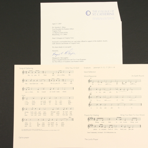 Card and sheet music from memorial program from College of St. Catherine