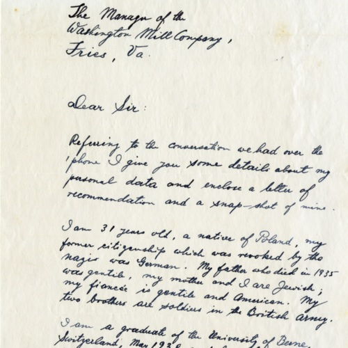 A Letter to Washington Mills Company From a Potential Company Doctor, 1942 (Ms1989-039)
